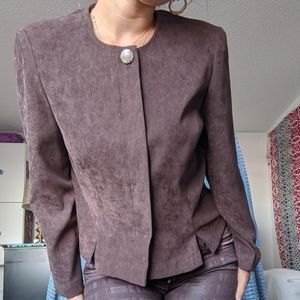 Brown suede immitation suit jacket